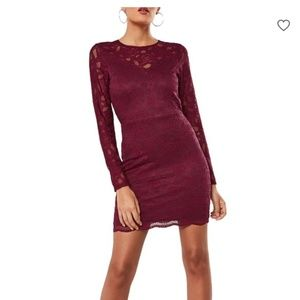 Missguided Burgundy Floral Lace Bodycon Dress